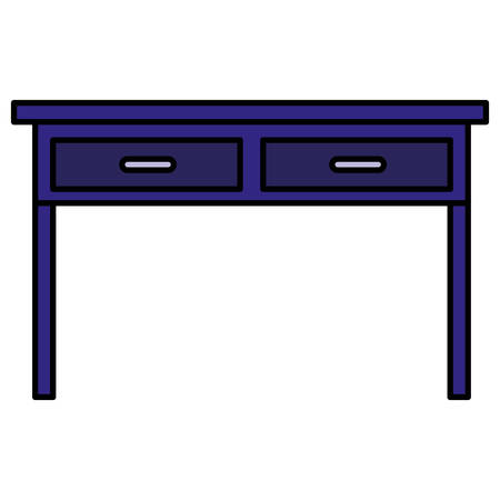 table with drawers wooden house forniture vector illustration design