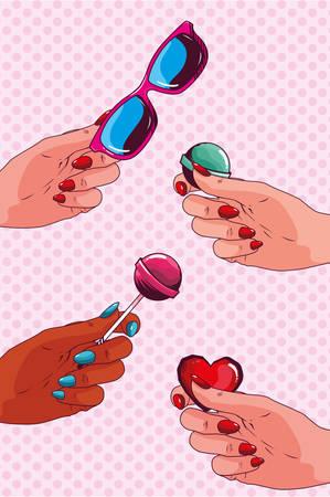 set icons pop art style vector illustration design Illustration