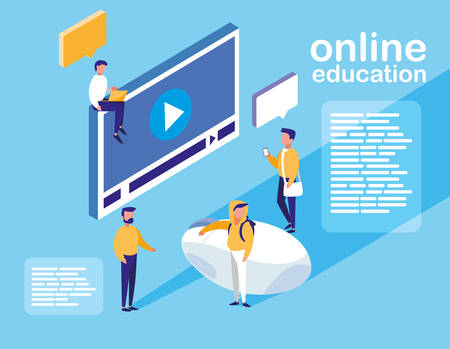 online education with media player display and mini people vector illustration design Stock Illustratie