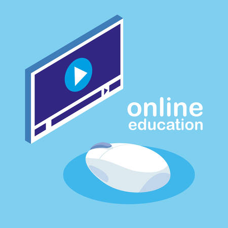 online education with media player display vector illustration design