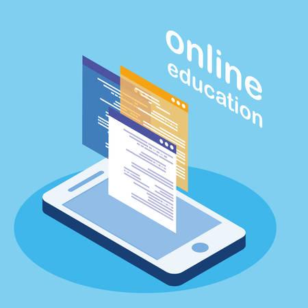 online education with smartphone vector illustration design  イラスト・ベクター素材