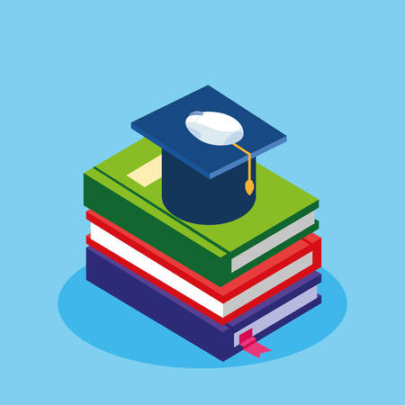 online education with ebooks and graduation hat vector illustration design