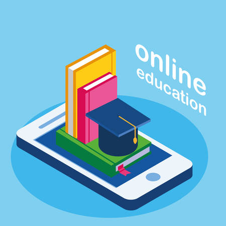 online education with smartphone and ebooks vector illustration design