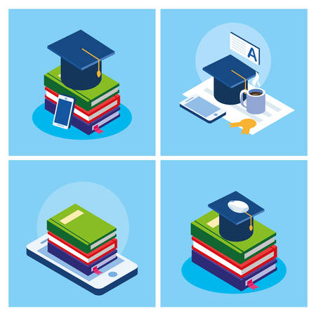 online education set icons vector illustration design