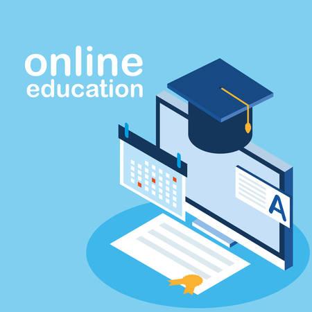 online education with desktop vector illustration design