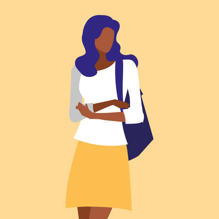 beautiful black woman modeling with handbag vector illustration design