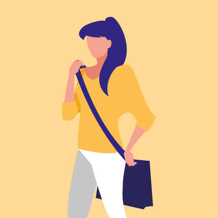 beautiful woman modeling with handbag vector illustration design Illustration