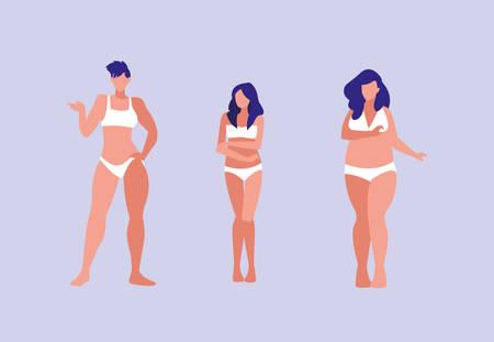 women of different sizes modeling underwear vector illustration design