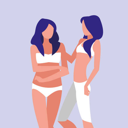 women of different sizes modeling underwear vector illustration design