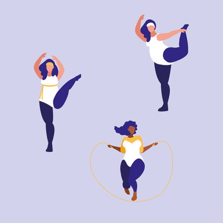 group of big women exercising body positive power vector illustration design