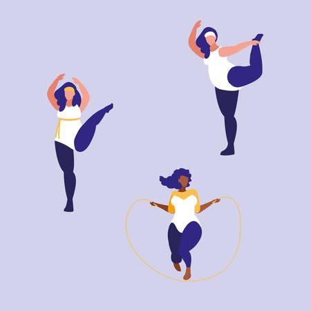 group of big women exercising body positive power vector illustration design