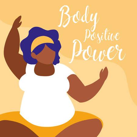 Gran mujer negra que ejercita el poder positivo del cuerpo, diseño de ilustraciones vectoriales