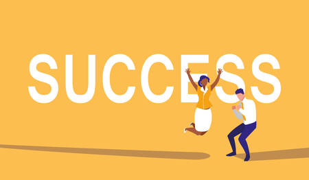 successful business couple celebrating characters vector illustration design