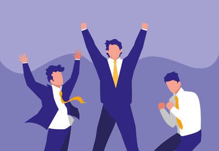 successful businessmen celebrating characters vector illustration design