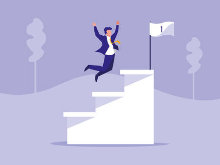 successful businessman celebrating in stairs vector illustration design