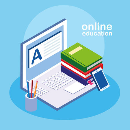 online education with laptop vector illustration design