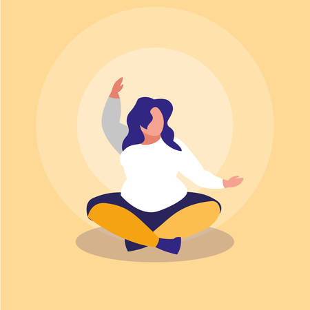 big woman exercising body positive power vector illustration design 向量圖像
