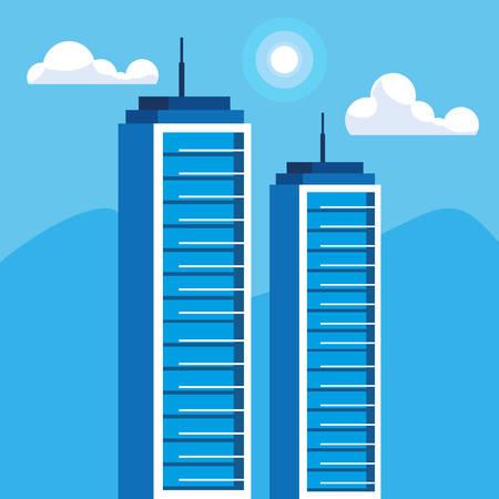 buildings construction cityscape scene vector illustration design Imagens - 124723778