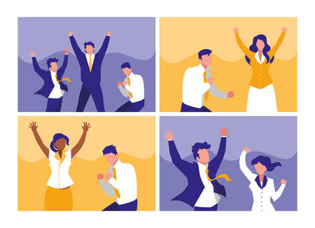successful business people celebrating characters vector illustration design