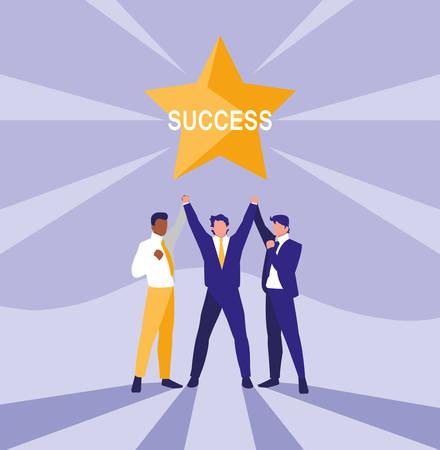 successful businessmen celebrating with star vector illustration design