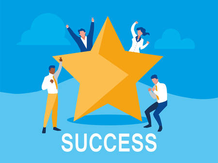 successful business people celebrating with star vector illustration design Иллюстрация