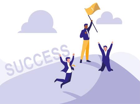 successful businessmen celebrating with winner flag vector illustration design