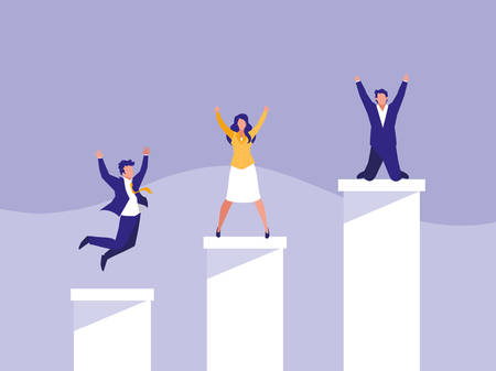 successful business people celebrating in stairs up vector illustration design Иллюстрация