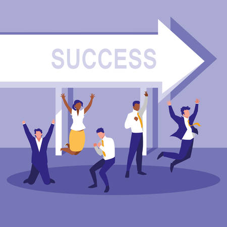 successful business people celebrating with arrow vector illustration design
