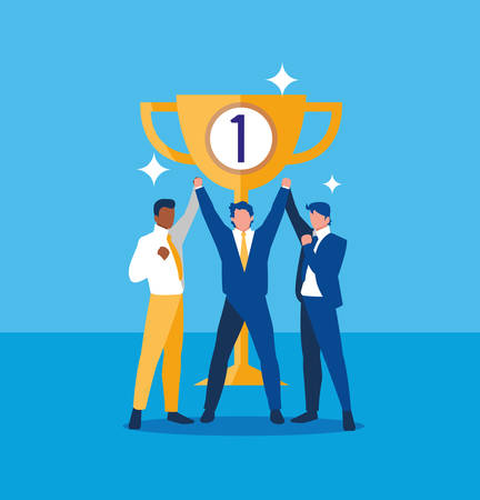 successful businessmen celebrating with trophy vector illustration design