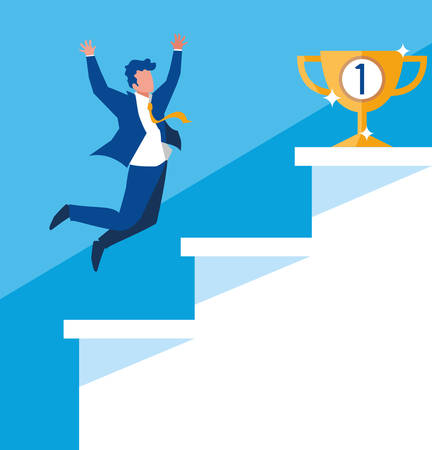 successful businessman celebrating in stairs vector illustration design Фото со стока - 124723798