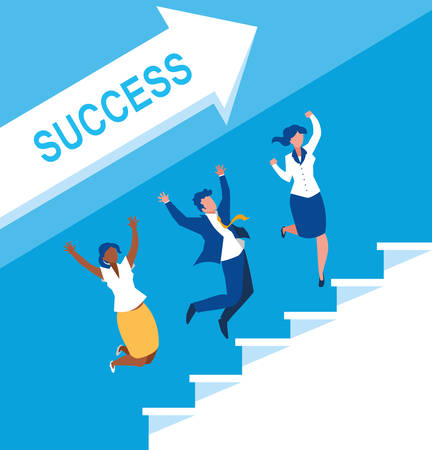 successful business people celebrating in stairs up vector illustration design Фото со стока - 124723799