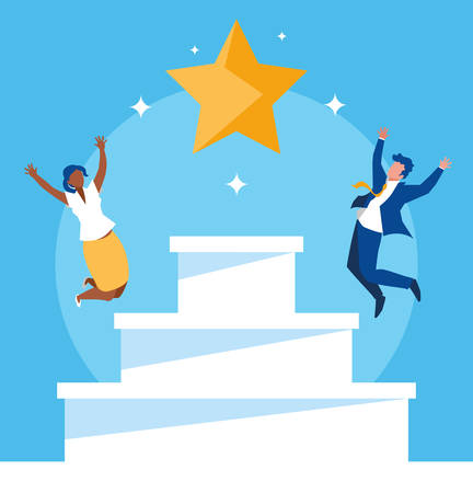 successful business couple celebrating with stairs up vector illustration design