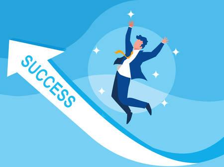 successful businessman celebrating with arrow up vector illustration design Фото со стока - 124723801
