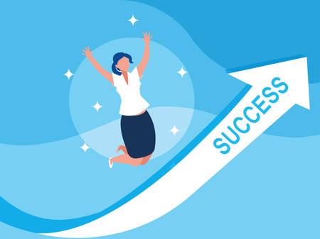 sucessful businesswoman celebrating with arrow up vector illustration design Иллюстрация