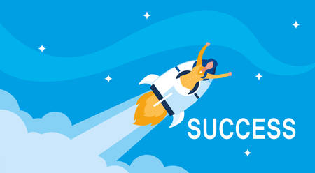 sucessful businesswoman celebrating with rocket vector illustration design