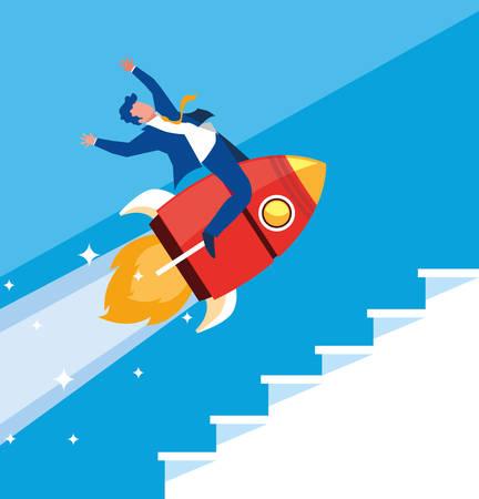 successful businessman celebrating in rocket vector illustration design