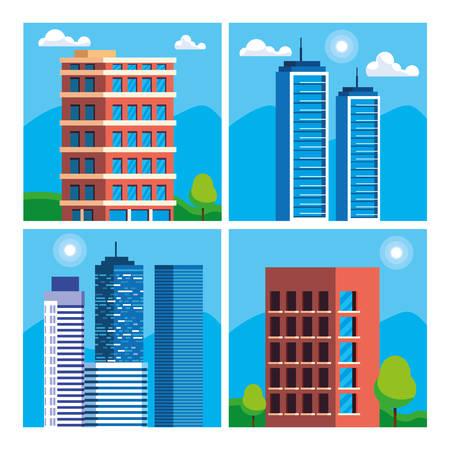 buildings construction cityscape scene vector illustration design Imagens - 124723806