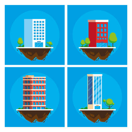 buildings cityscape in terrain scene vector illustration design Illustration