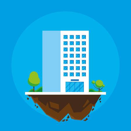 building in terrain scene vector illustration design Imagens - 124723808