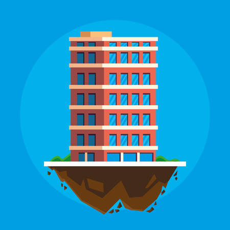 building in terrain scene vector illustration design Imagens - 124723810