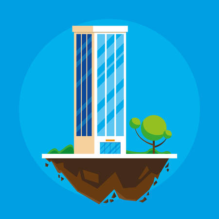 building in terrain scene vector illustration design Imagens - 124723811