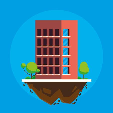 building in terrain scene vector illustration design Imagens - 124723813