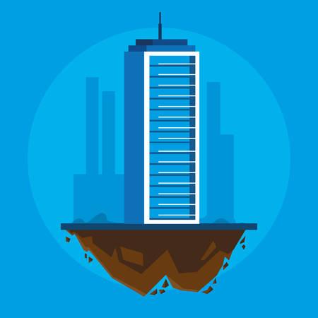 building in terrain scene vector illustration design Imagens - 124723814