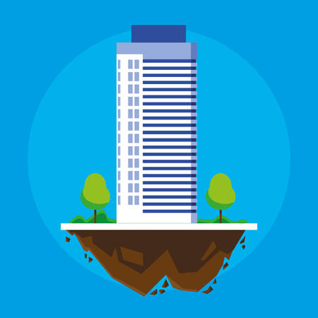 building in terrain scene vector illustration design Imagens - 124723815