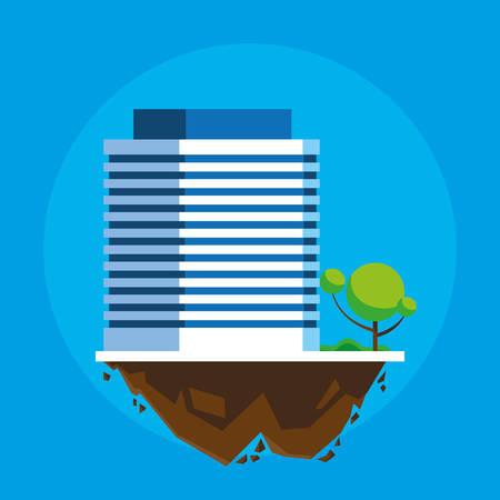 building in terrain scene vector illustration design Imagens - 124723816