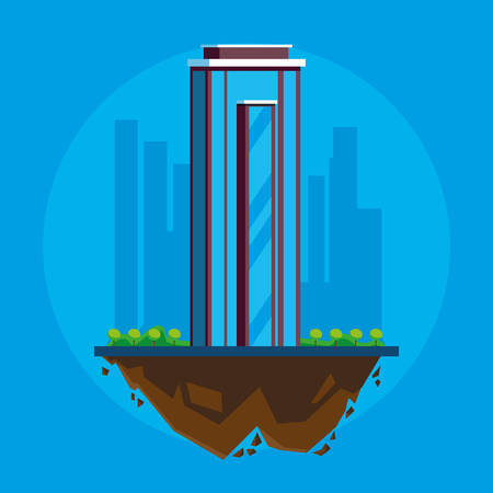 building in terrain scene vector illustration design