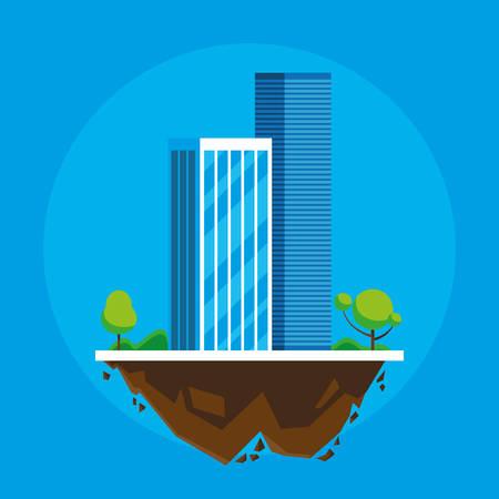 buildings cityscape in terrain scene vector illustration design Imagens - 124723819