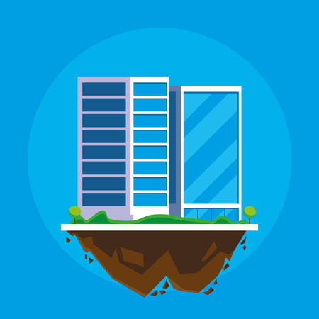 buildings cityscape in terrain scene vector illustration design  イラスト・ベクター素材