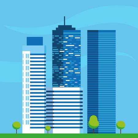 buildings construction cityscape scene vector illustration design Imagens - 124723821