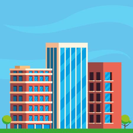 buildings construction cityscape scene vector illustration design